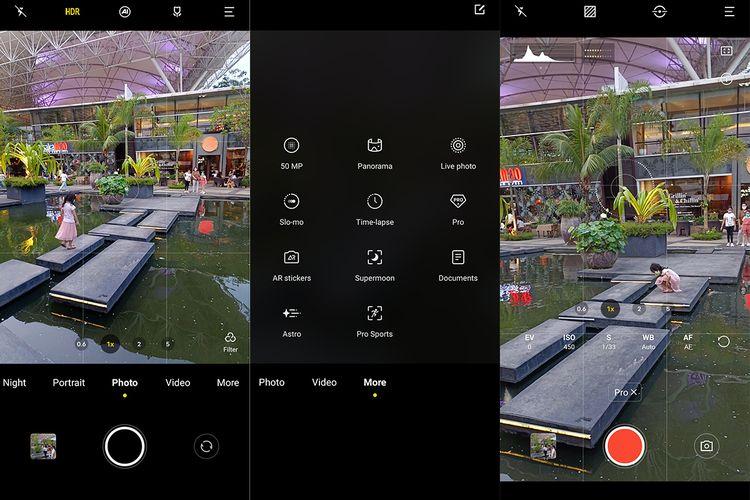 Tampilan aplikasi kamera Vivo X70 Pro dalam mode foto reguler (kiri), dan profesional (kanan). Mode-mode tambahan ditempatkan dalam tab more.