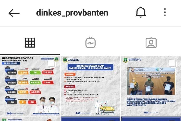 Dinas Kesehatan Banten akhirnya mengubah desian konten di akun Instagramnya usai dikritik Dokter Tirta
