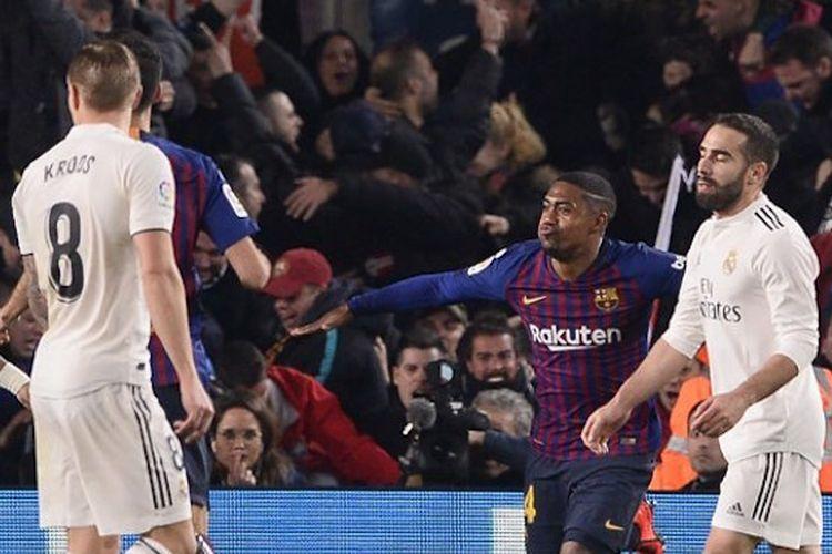 Malcom merayakan gol penyama kedudukan pada laga Barcelona vs Real Madrid dalam semifinal Copa del Rey di Stadion Camp Nou, 6 Februari 2019.