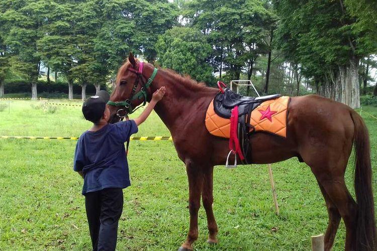 Seorang anak belajar menunggangi kuda di Sekolah Berkuda Wisata Selorejo, Kabupaten Malang, Sabtu (21/11/2020).
