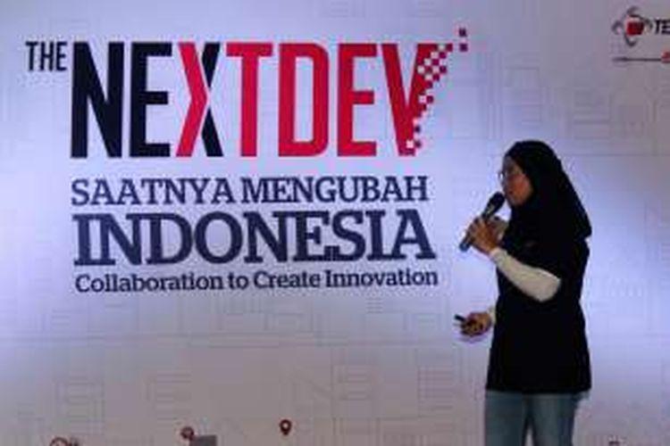 Jovita Kumala, Corporate Communication Telkomsel saat melakukan sosialisasi program The NextDev di Gorontalo. Diharapkan muncul apliaksi berbasis seluler yang dapat dimanfaatkan masyarakat dan pemerintah.