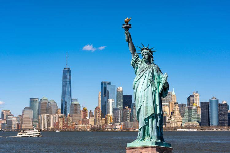 Ilustrasi Patung Liberty atau Liberty Statue di New York, Amerika Serikat.