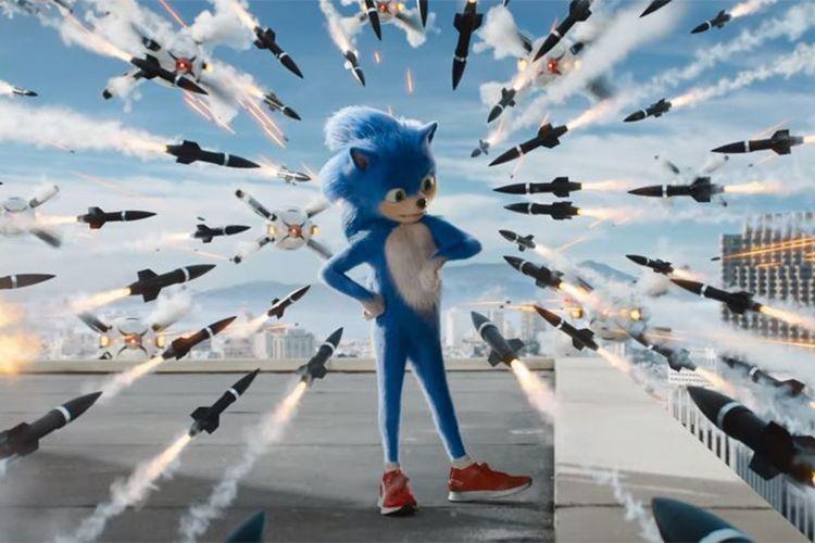 Salah satu cuplikan adegan dalam film trailer film live-action Sonic the Hedgehog.