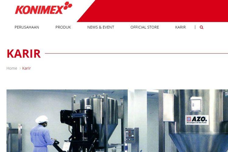 Tangkapan layar webiste PT Konimex.