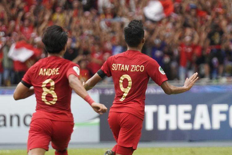Sutan Zico merayakan gol Timnas U-16 Indonesia ke gawang Australia pada laga perempat final Piala Asia U-16 2018 di Stadion Bukit Jalil, 1 Oktober 2018.