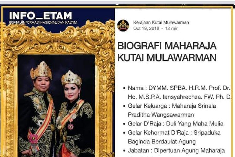 Beberapa hari belakangan warga Kabupaten Kutai Kartanegara (Kukar) tengah heboh dengan kemunculan sebuah kerajaan baru bernama Kerajaan Mulawarman di Muara Kaman, salah satu kecamatan di Kukar.