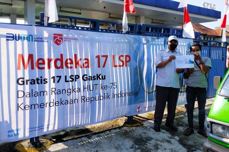 layanan gratis pengisian gas sebesar 17 Liter Setara Premium (LSP) untuk pelanggan GasKu yang bertajuk ?Merdeka 17 LSP?, (17/08/2020).