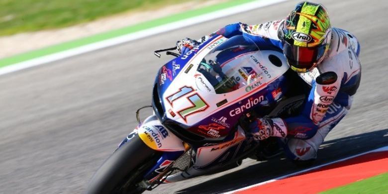 Pebalap Cardion AB, Karel Abraham, memacu motornya di Sirkuit Misano pada GP San Marino, Minggu (15/9/2013).