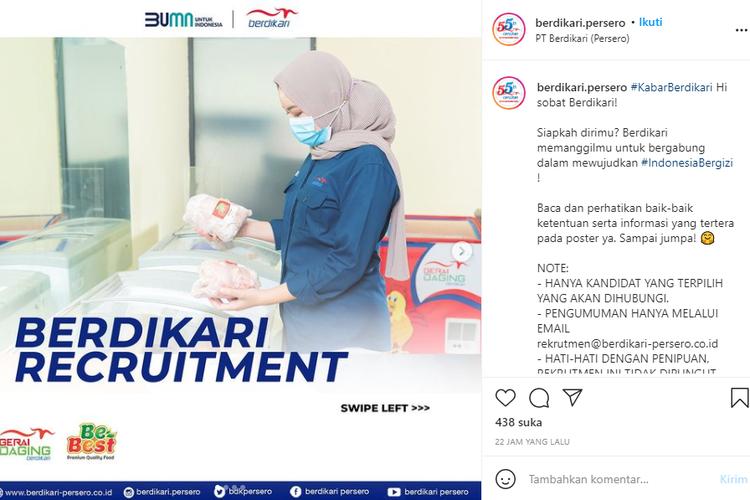 BUMN PT Berdikari (Persero) sedang membuka lowongan kerja untuk lulusan minimal Diploma (D3) hingga Sarjana (S1) dari berbagai jurusan.