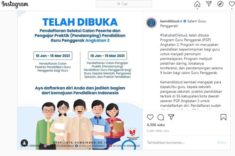 Tangkapan layar dari Instagram perihal pendaftaran seleksi calon peserta dan pengajar praktik pendidikan guru penggerak angkatan 3.