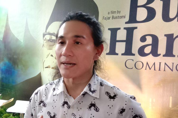 Vino G Bastian menghadiri jumpa pers film Buya Hamka di kantor Falcon Pictures, Duren Tiga, Jakarta Selatan, Senin (25/3/2019).