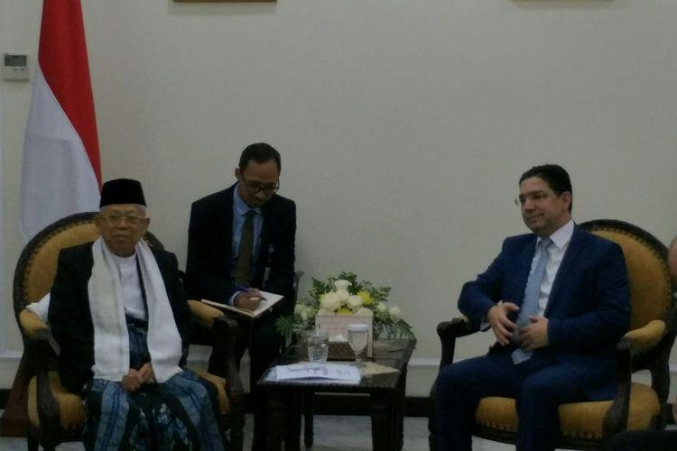 Wakil Presiden Maruf Amin menerima kunjungan Menteri Luar Negeri Maroko Nasser Bourita
