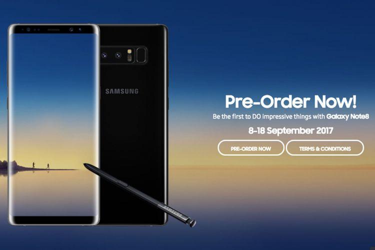 Tampilan laman Galaxy Launch Pack untuk pemesanan Galaxy Note 8 di Indonesia.