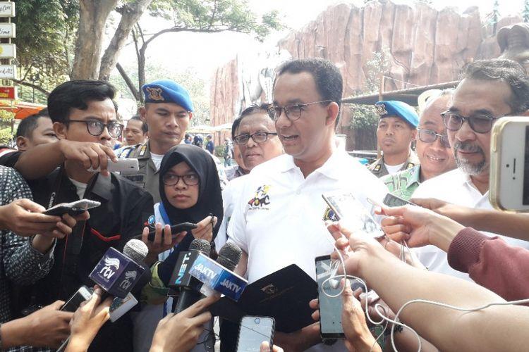 Gubernur DKI Jakarta Anies Baswedan memberi keterangan kepada wartawan di Ancol, Kamis (6/9/2018).