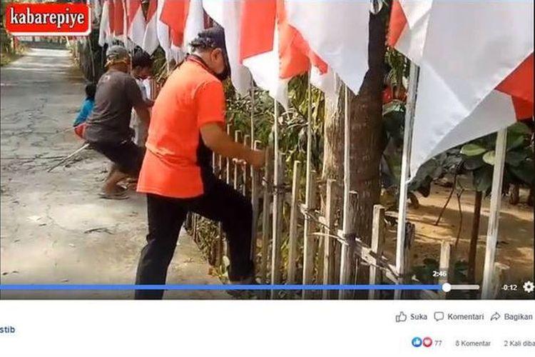 Sebuah video yang menampilkan soerang pria di Klaten, Jawa Tengah, memasang 75 bendera untuk memperingati hari ulang tahun ke-75 Republik Indonesia, viral di media sosial.