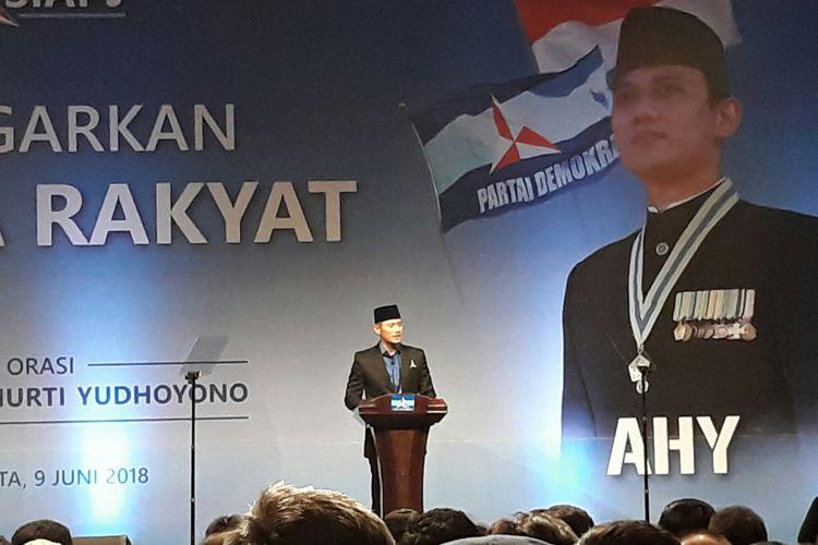 Agus Harimurthi Yudhoyono menyampaikan orasi bertajuk Mendengar Suara Rakyat di Jakarta Convention Center (JCC), Senayan, Jakarta, Sabtu (9/6/2018).
