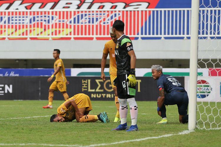 Pertandingan antara Arema FC dan Bhayangkara FC pada pekan kedua Liga 1 2021-2022 yang digelar di Stadion Pakansari, Bogor, Minggu (12/9/2021) sore WIB.