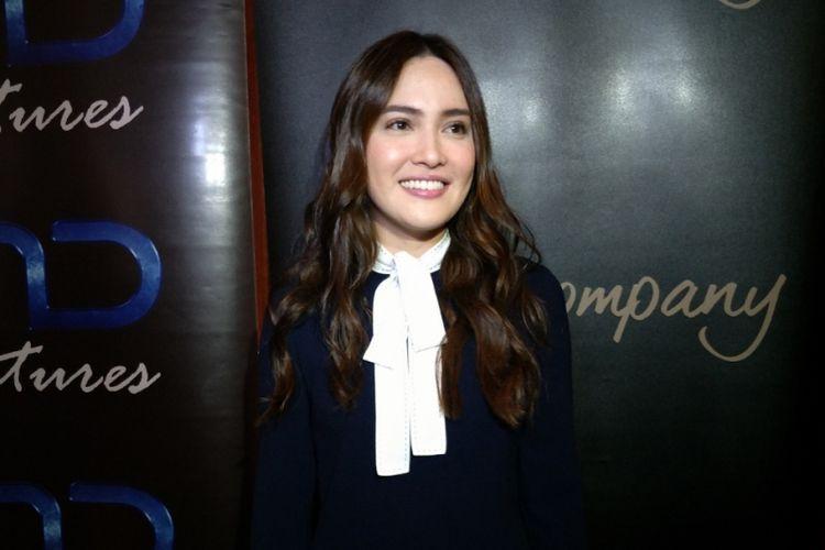 Shandy Aulia di sela peluncuran trailer film Rasuk di XXI Meteopole, Jakarta Pusat, Senin (28/5/2018).
