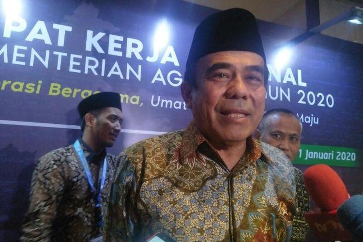 Menteri Agama Fachrul Razi Usai Membuka Acara Rakenas Kementerian Agama di Hotel Redtop, Jakarta Pusat, Rabu (29/1/2020)