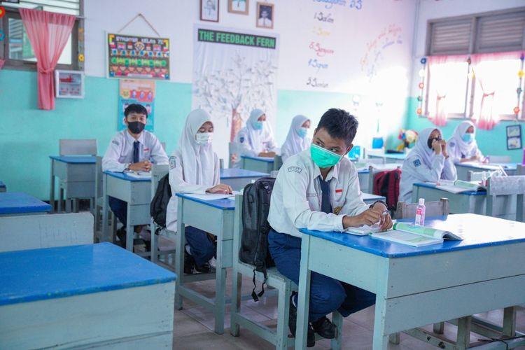 Siswa-siswi SMPN 1 saat mengikuti uji coba pembelajaran tatap muka yang pernah digelar beberapa bulan lalu.