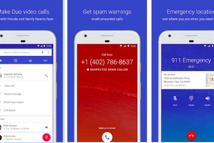 Tampilan aplikasi Google Phone.