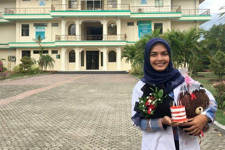 Silvira Nazzai saat berada di Fakultas Kedokteran Universitas Abulyata di Banda Aceh, Sabtu (28/10/2017).
