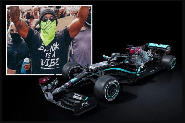 Lewis Hamilton saat turun ke jalan dan Mercedes hitam yang dikendarainya
