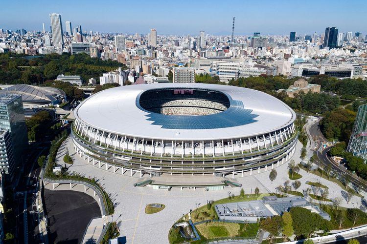 Japan National Stadium, akan digunakan untuk upacara pembukaan Olimpiade Tokyo 21 yang akan berlangsung pada  Jumat (23/7/2021).