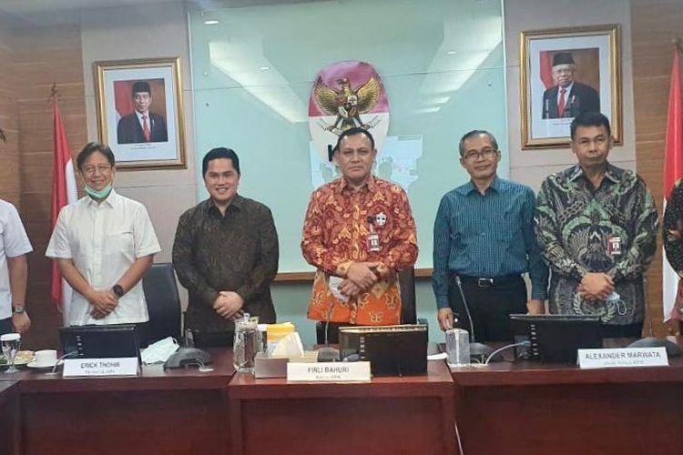 Menteri BUMN Erick Thohir saat bertemu dengan pimpinan KPK pada Rabu (8/7/2020).