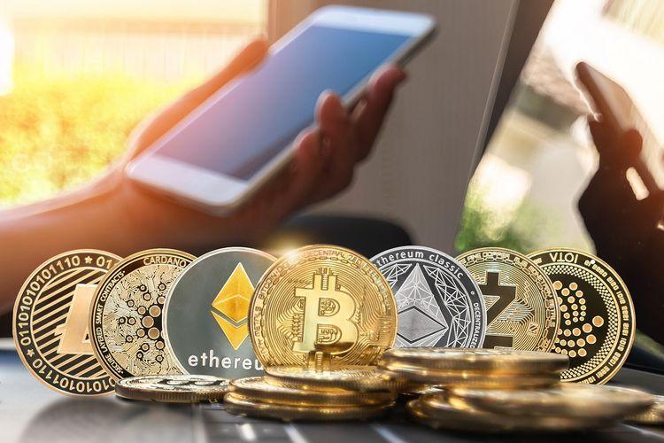 Ilustrasi aneka uang kripto (cryptocurrency).