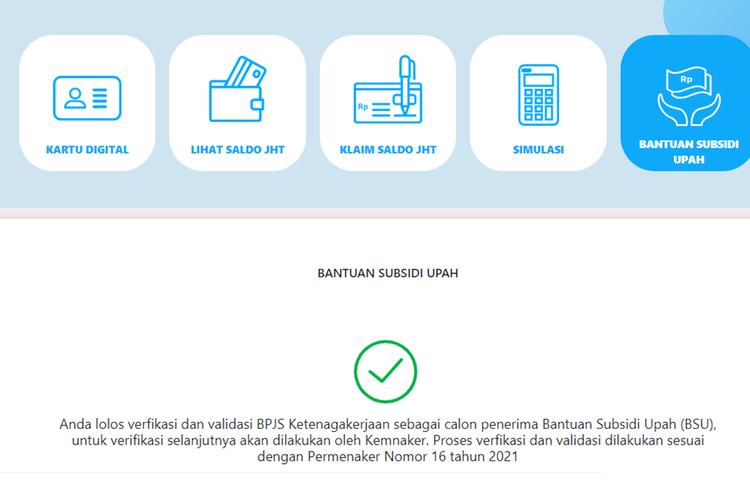 Tangkapan layar tampilan menu Bantuan Subsidi Upah pada laman sso.bpjsketenagakerjaan.go.id.