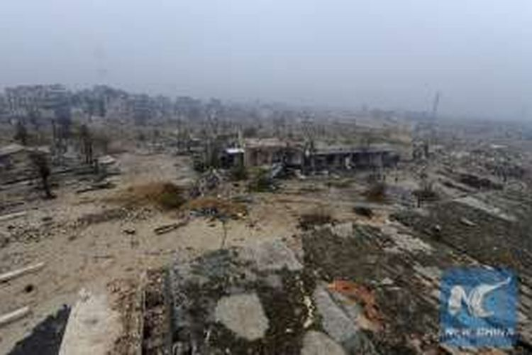 Pemandangan ini memperlihatkan kerusakan parah di kawasan Kota Tua di Aleppo, Suriah. Foto diambil pada 12 Desember 2016.