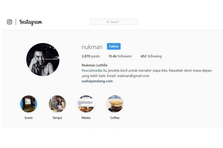 Profil Instagram Nukman Luthfie