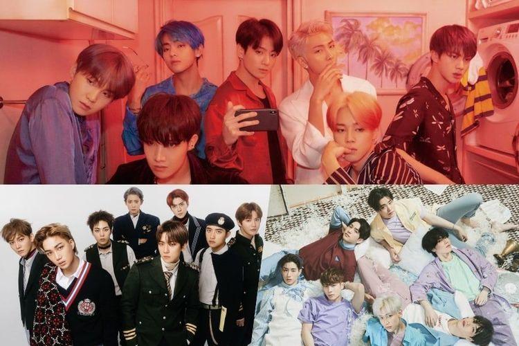 (Searah jarum jam) BTS, GOT7, dan EXO masuk nominasi Top Social Artist pada Billboard Music Awards (BBMA) 2019 yang akan digelar di Las Vegas, AS, pada 1 Mei 2019.