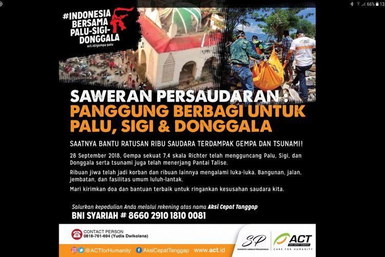 Poster Saweran Persaudaraan: Berbagi untuk Palu dan Donggala