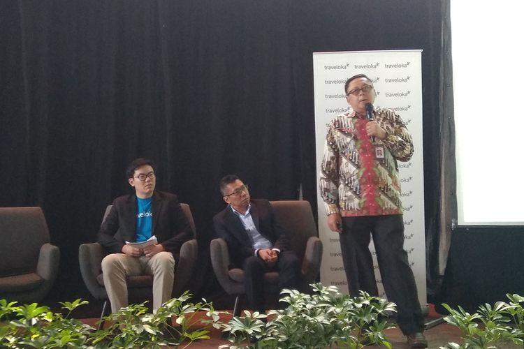 Kepala Grup Inovasi Keuangan Digital Otoritas Jasa Keuangan (OJK), Triyono dalam konferensi pers Traveloka di Jakarta, Selasa (27/8/2019).