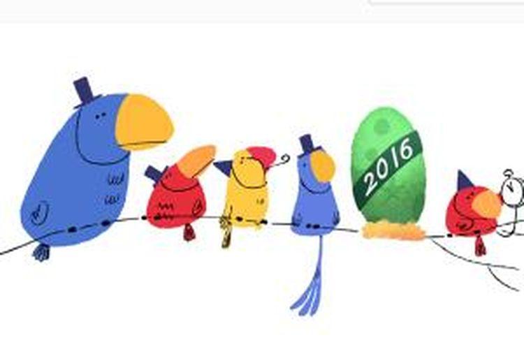 Google doodle rayakan tahun baru 2016.