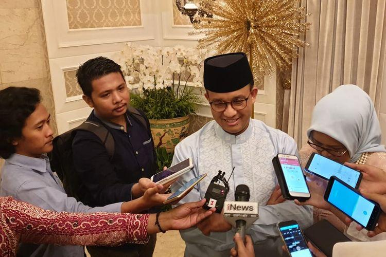 Gubernur DKI Jakarta, Anies Baswedan di Taman Suropati, Rabu (5/6/2019).