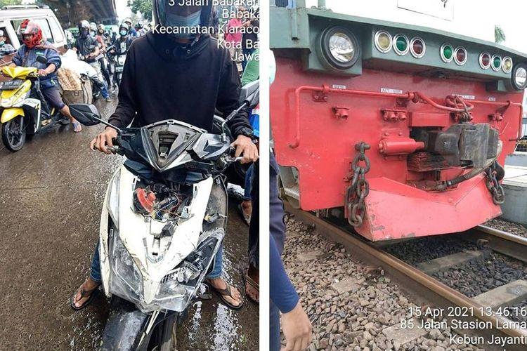 Kolase foto sepeda motor yang tampak remuk usai menabrak lokomotif kereta api (kiri), dan foto cow hanger lokomotif yang juga terlihat lecet usai terjadinya benturan tersebut (kanan).