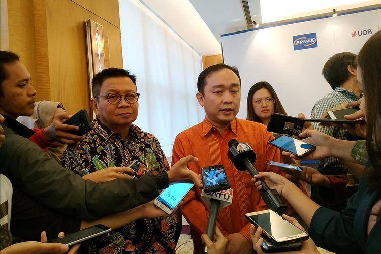 Presiden Direktur PT Rintis Sejahtera Iwan Setiawan memberi keterangan di The Westin Hotel, Jakarta, Senin, (1/7/2019).