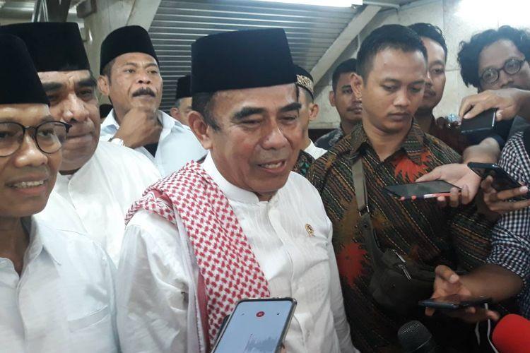 Menteri Agama Fachrul Razi usai memberi khotbah di Masjid Istiqlal, Jakarta, Jumat (1/11/2019).