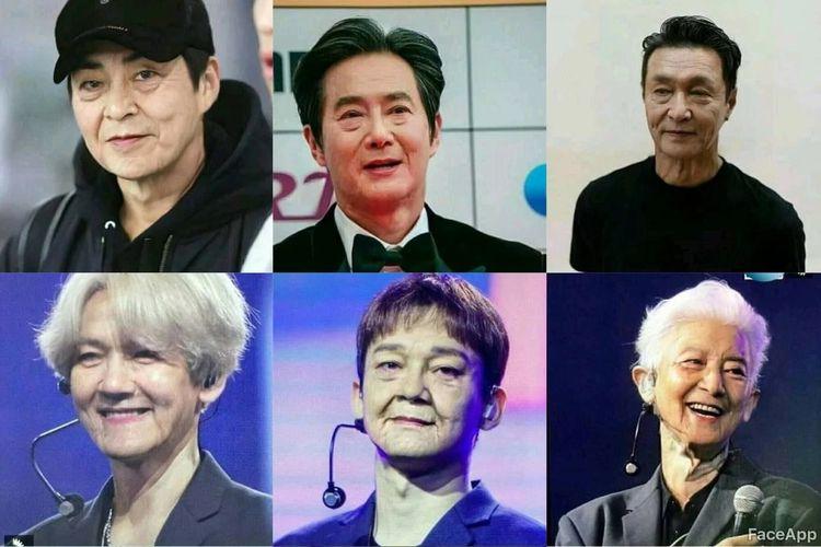 Member EXO saat dipakaikan aplikasi FaceApp.