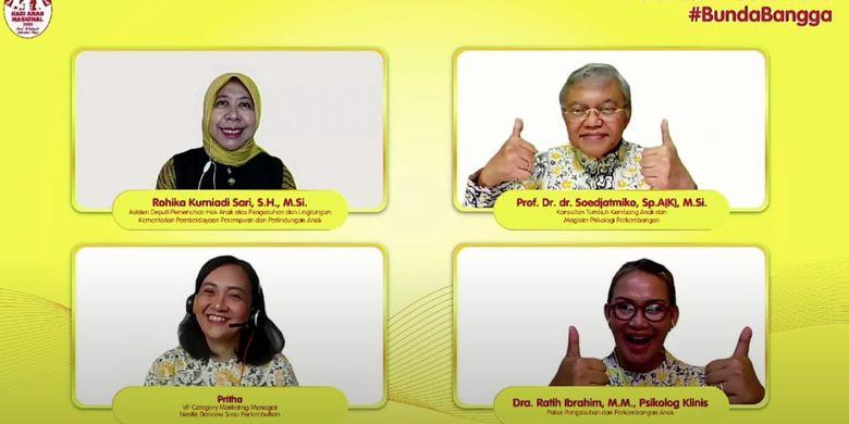 Peluncuran Buku Saku #BundaBangga hasil kerjasama Nestlé DANCOW Nutritods bekerja sama dengan Kementerian Pemberdayaan Perempuan dan Perlindungan Anak Republik Indonesia yang dilakukan secara virtual (21/7/2021).