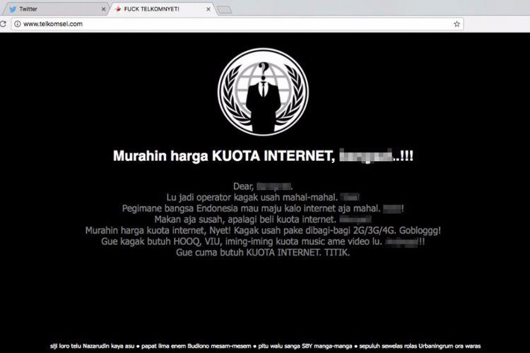 Halaman situs web Telkomsel yang di-deface pada Jumat (28/4/2017).
