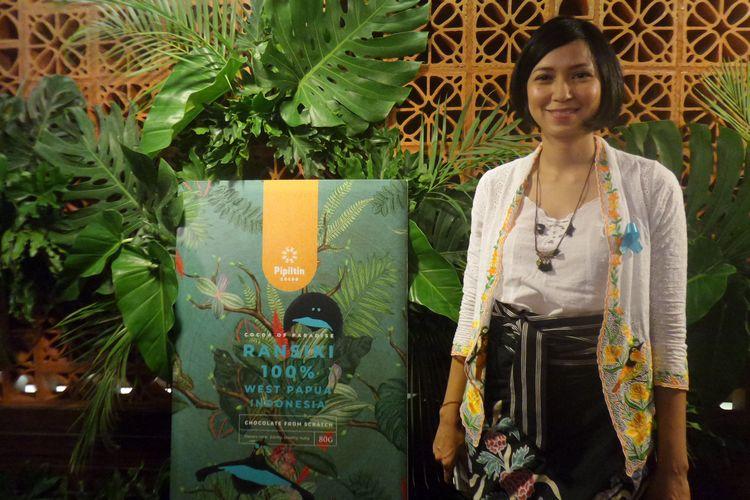 Pendiri Pipiltin Cocoa, Tissa Aunilla pada peluncuran Rasinki 72% di Alun-Alun Grand Indonesia, Jakarta Pusat, Kamis (22/8/2019).