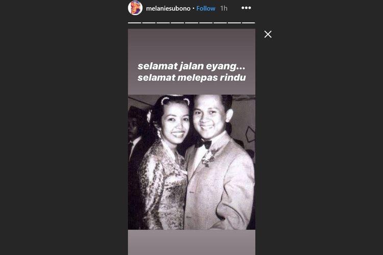 Foto masa muda Ainun dan BJ Habibie yang diunggah Melanie Subono, Rabu (11/9/2019).