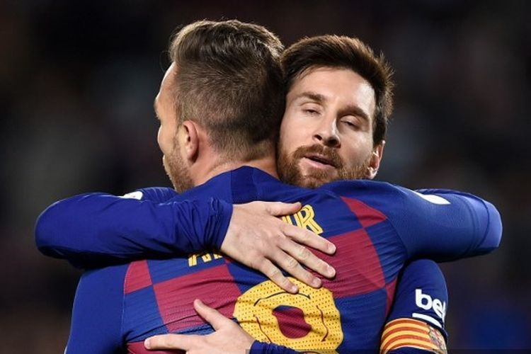 Lionel Messi dan Arthur Melo pada laga Copa del Rey antara Barcelona vs Leganes.