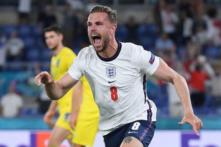 Ekspresi gelandang timnas Inggris, Jordan Henderson, seusai mencetak gol pada laga perempat final Euro 2020 melawan Ukraina yang dihelat di Stadion Olimpico, Roma, Italia, Minggu (4/7/2021) dini hari WIB.