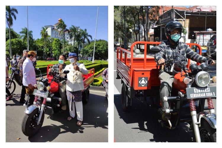 Gubernur Jawa Barat Ridwan Kamil mengapresiasi inovasi konversi kendaraan roda 3 buatan Itenas Bandug.