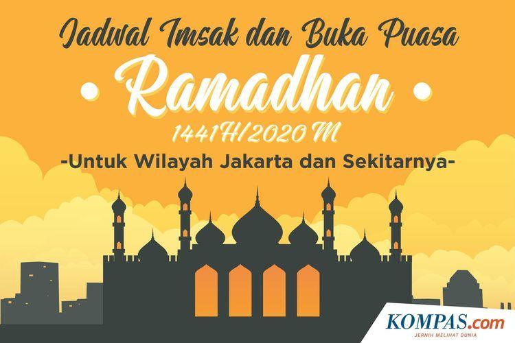 Jadwal Imsak dan Buka Puasa Ramadhan 1441 H/2020 M untuk Wilayah Jakarta dan Sekitarnya.